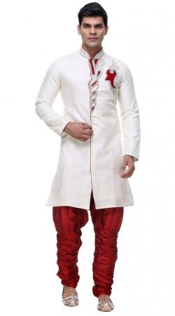 Ultimate Style Brocade White Indo Western Sherwani With Hand Work GR132104