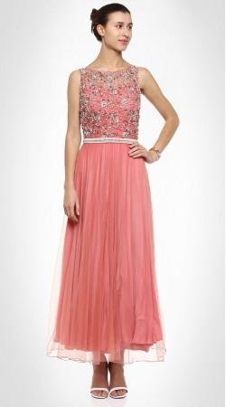 Ultimate Style Net Yoke Work Pink Designer Ankle Length Anarkali Suit SUMS25817