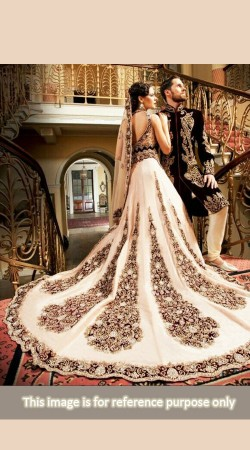 Ultimate Style Off White Crepe Designer Long Tail Lehenga For Bridal BP0227
