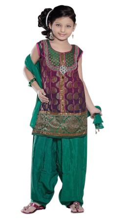 Ultimate Style Purple And Rama Green Banarsi Silk Kids Girl Punjabi Suit TL602528
