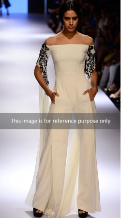 Ultimate Style White Jump Suit With Floral Work Floor Length Sleeves BP0427