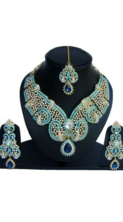 Unique Style Sky Blue Stones Work Necklace Set With Tika NNP73902
