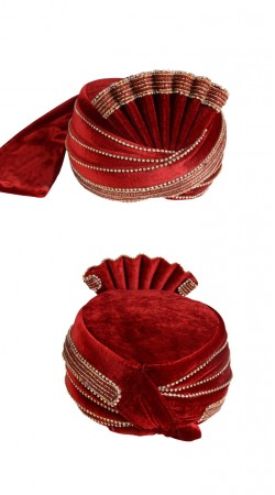 Up To The Minute Red Velvet Designer Mens Wedding Turban ZP1311
