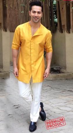 Varun Dhawan Yellow Cotton Silk Kurta Pajama BP0636