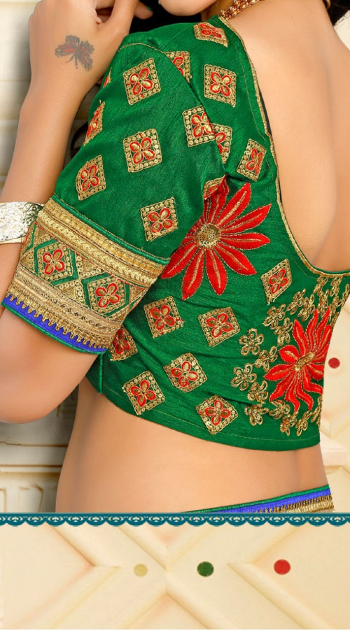 Red Floral Saree With Contrast Green Blouse VB11134C29