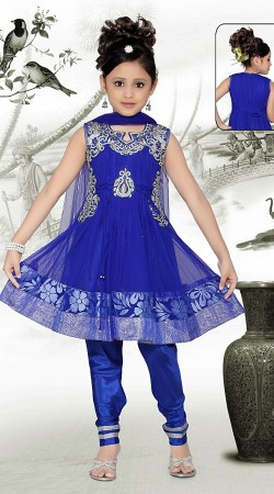 Voguish Blue Net Readymade Kids Suit DT909429