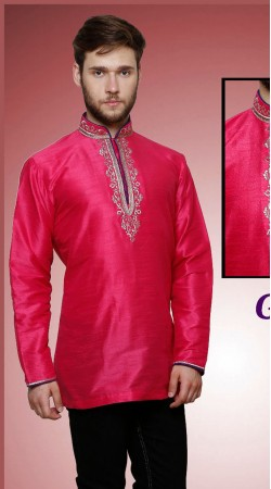 Voguish Chinese Collar Style Magenta Dupian Silk Men Short Kurta DTGK159