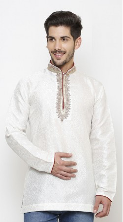 Voguish Chinese Collar Style White Kela Resham Brocade Men Short Kurta DTMK1447