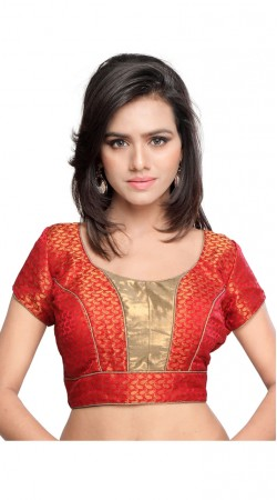Voguish Golden Paisley pattern Work Red Art Silk Jacquard Designer Blouse BPMS2412