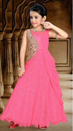 Voguish Mirror Work Pink Net Kids Girl Designer Gown DTK2452