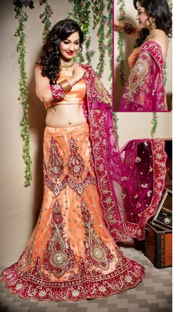 Voguish Peach Net Semi Bridal Lehenga Choli With Pink Dupatta LD001505