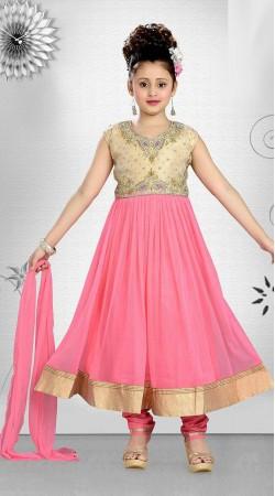 Voguish Pink Kids Long Anarkali Suit With Kasab Work DT10948