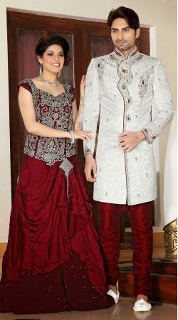Voguish White Brocade Designer Readymade Sherwani 2FD3685699