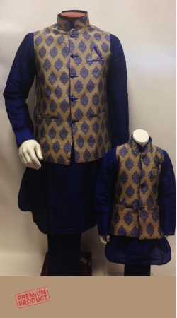 Waist Coat Blue Father Son Kurta Pajama Set BP1044