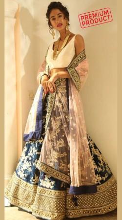 Wedding Wear Dark Blue Designer Lehenga Choli SGR01549