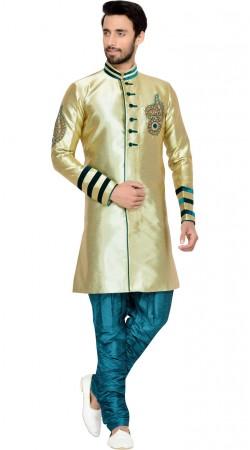Wedding Wear Gold Brocade Indo Western Sherwani GR144709