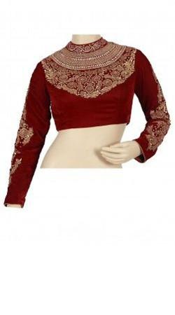 Wedding Wear Red Velvet Designer Blouse For Saree BP4809