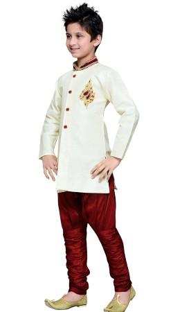 Wedding Wear White Art Silk Boy Indo Western Sherwani GR16312