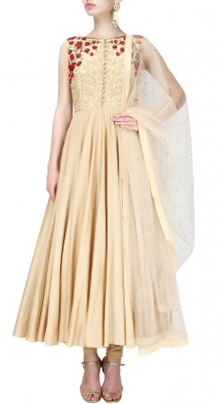 Well Proportioned Cream Silk Designer Anarkali Suit With Hand Work SUMS27017