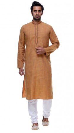Well Proportioned Dark Cream Cotton Thread Work Mens Kurta Pajama GR142706