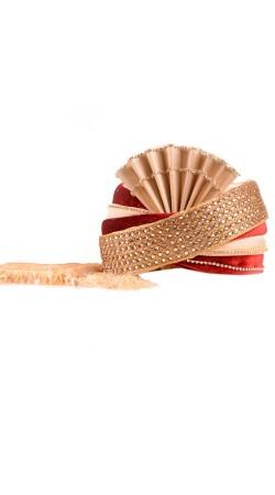 Well Proportioned Golden Silk Red Velvet Royal Wedding Turban ZP0210