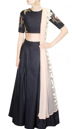 Well Proportioned Grey Jute Designer Crop Top Lehenga With Dupatta SUUDL18318