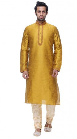 Well Proportioned Mustard Silk Kurta Pajama For Mens GR139301