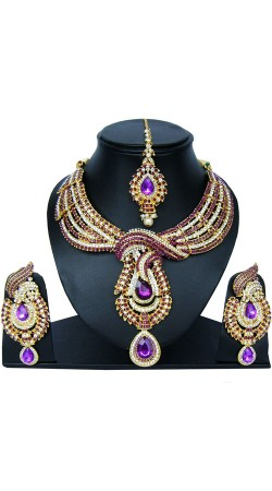 Well Proportioned Necklace Set With Maang Tika NNP83907