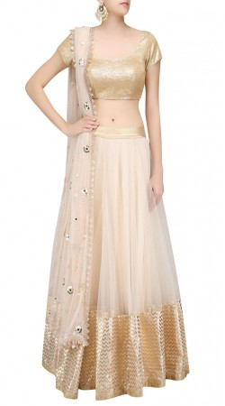Well Proportioned Net Off White Designer Lehenga With Golden Choli SUUDL22919