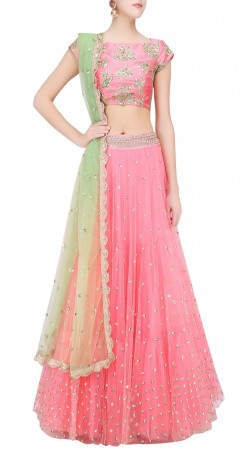 Well Proportioned Net Pink Designer Lehenga Choli SUUDL22319