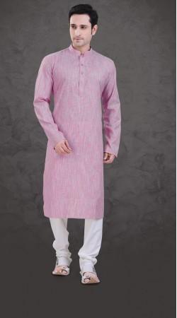 Well Proportioned Pink Cotton Plain Kurta Payjama SI0943