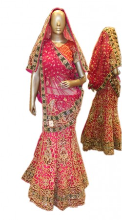 Well Proportioned Pink Net Heavy Work Lehenga Choli For Bridal SD0258