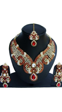 Well Proportioned Red And White Stones Work Necklace Set NNP74402