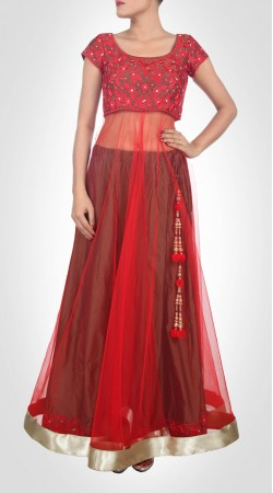 Well Proportioned Red Net Long Choli Lehenga With Dupatta SUUDL14516