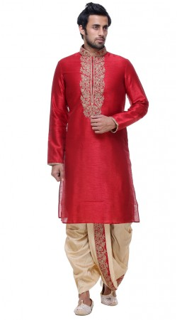 Well Proportioned Red Silk Designer Mens Dhoti Kurta GR140603