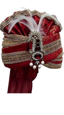 Red Wedding Turban For Groom IBODT1411