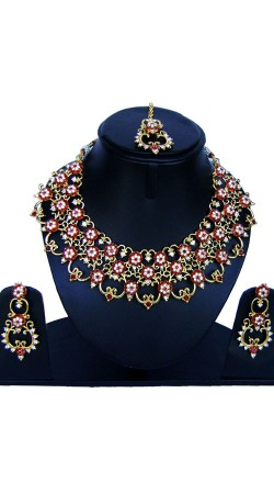 Well Proportioned Stone Work Necklace Set With Tika NNP85608