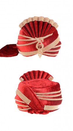 Well Proportioned Velvet Red Stone Work Wedding Turban ZP1411