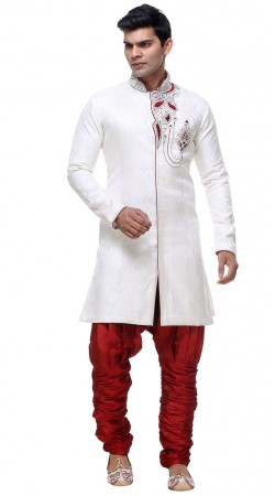 Well Proportioned White Brocade Designer Modern Sherwani GR131704