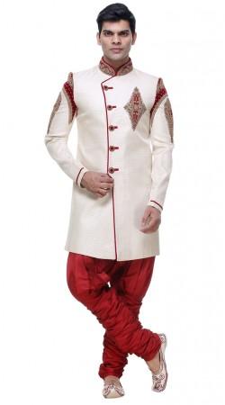 Well Proportioned White Brocade Hand Work Sherwani With Jodhpuri Pant GR133405
