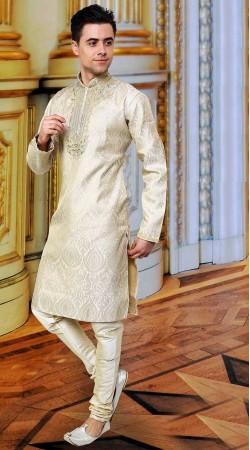 Whimsical Off White Banarsi Zari Brocade Kurta Payjama DTEKP1250