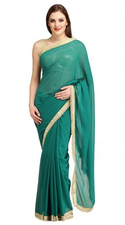 Whimsical Pearl Moti Lace Border Teal Bridesmaid Saree 2YS118760