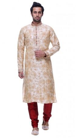 Whimsical Printed White Silk Thread Work Mens Kurta Pajama GR132905
