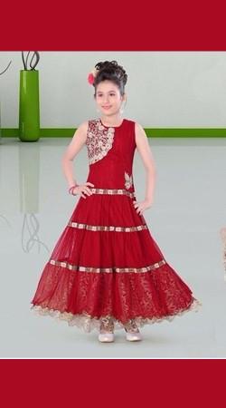 Whimsical Red Net Kids Girl Designer Ankle Length Gown DT11848