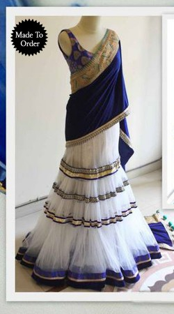 White And Blue Net Replica Lehenga Choli With Blue Dupatta SMDS00S