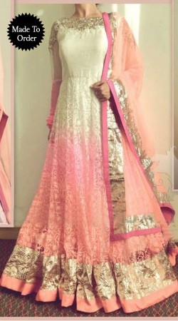 White And Pink Brasso Net Replica Floor Length Anarkali Suit SMDS00K