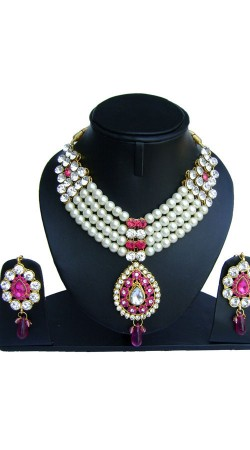 White And Pink Pearl Moti And Stones Work Designer Artificial Jewellery NNP75402