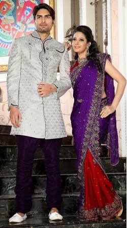White And Purple Brocade Indowestern Sherwani For Party 3FD3871932