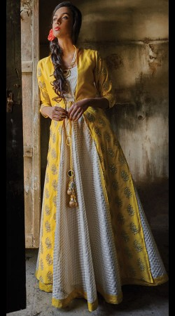 White And Yellow Art Silk Readymade Anarkali Suit 2WVE20413