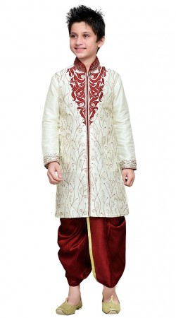White Art Silk Dhoti Sherwani For Kid Boy GR19114